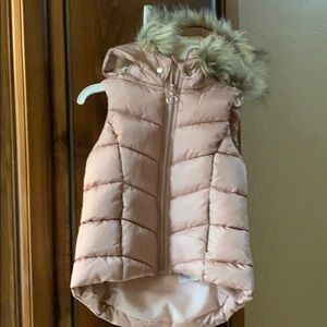 Other - Girls puffy vest with faux fur hood size 4-6Y